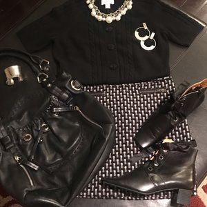 •Sweater • Mini Skirt • Ankle Boots • Handbag